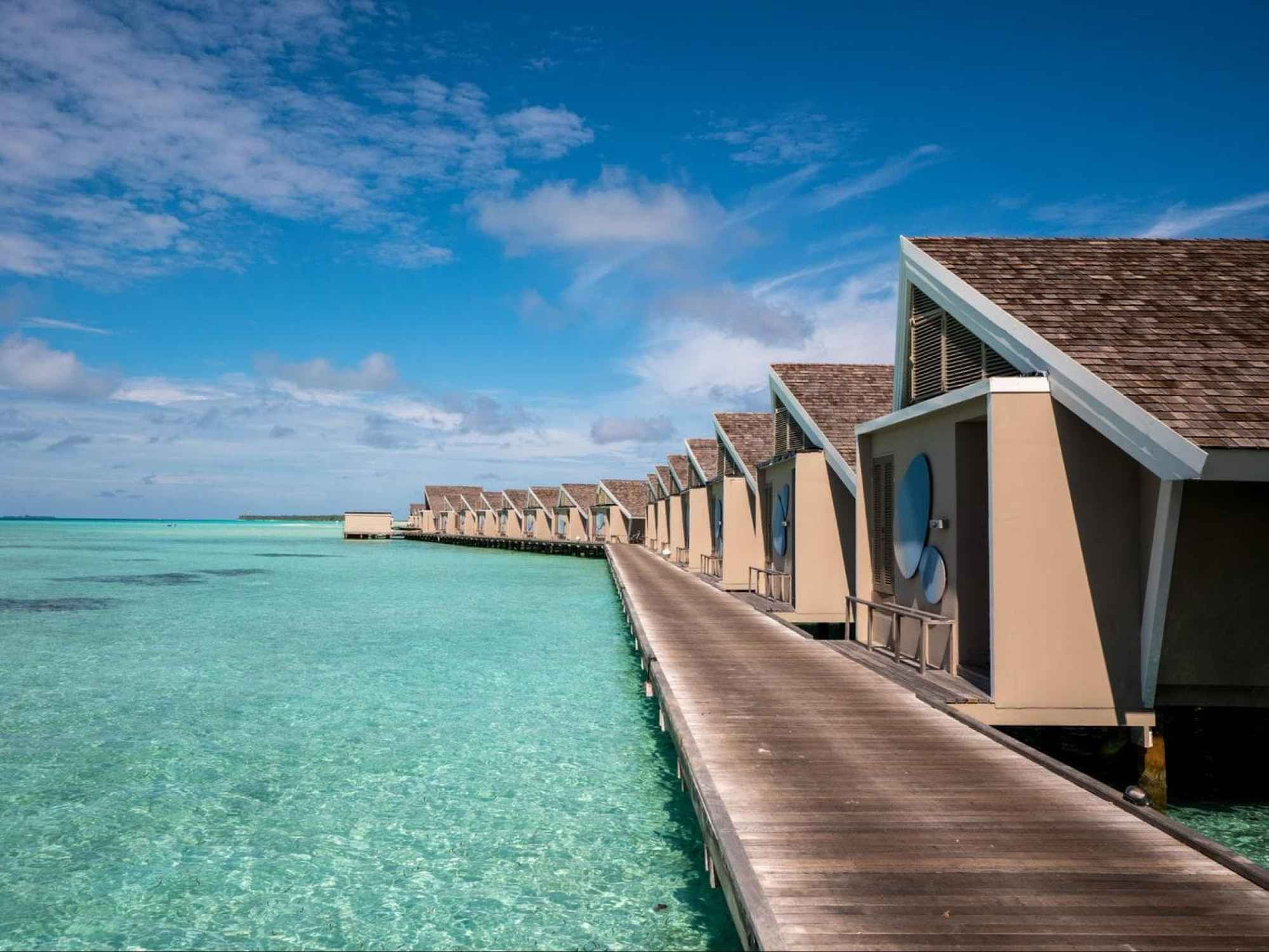The back of the romantic pool water villas at LUX*