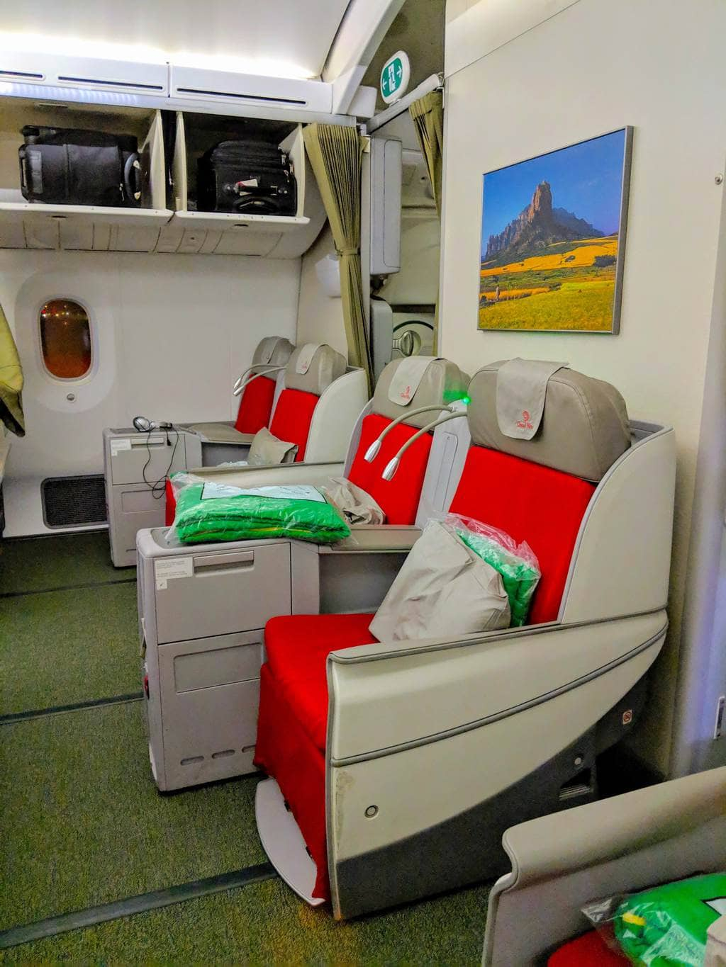 Seats on the older Ethiopian Airlines Boeing 787 Business Class