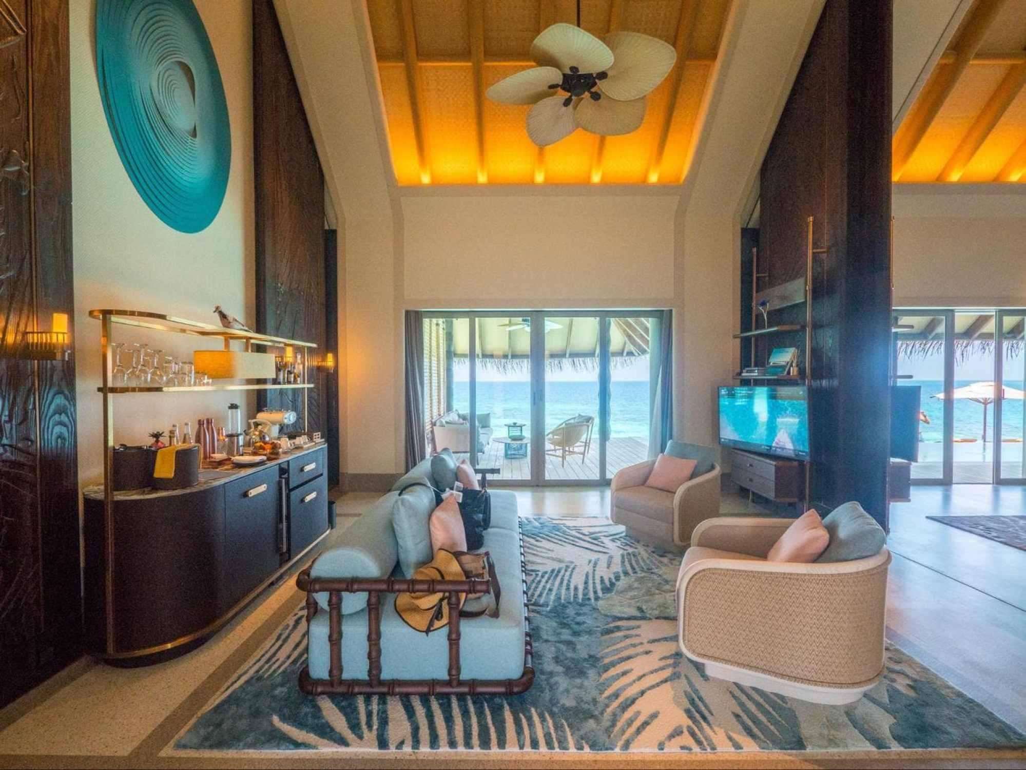 The living room inside Joali's Luxury Water Villas