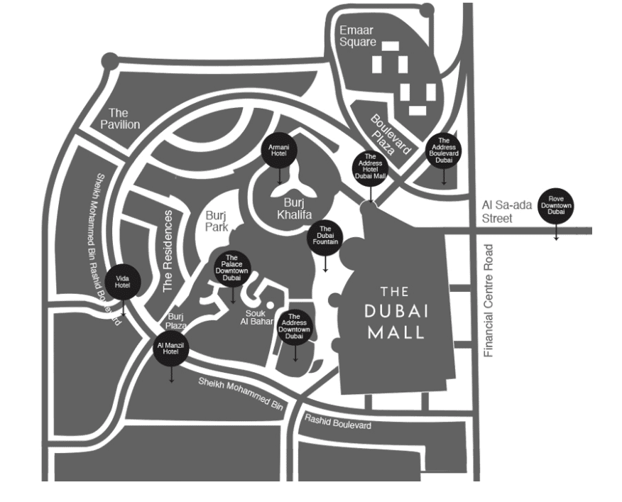 Details of the area from The Dubai Fountain website