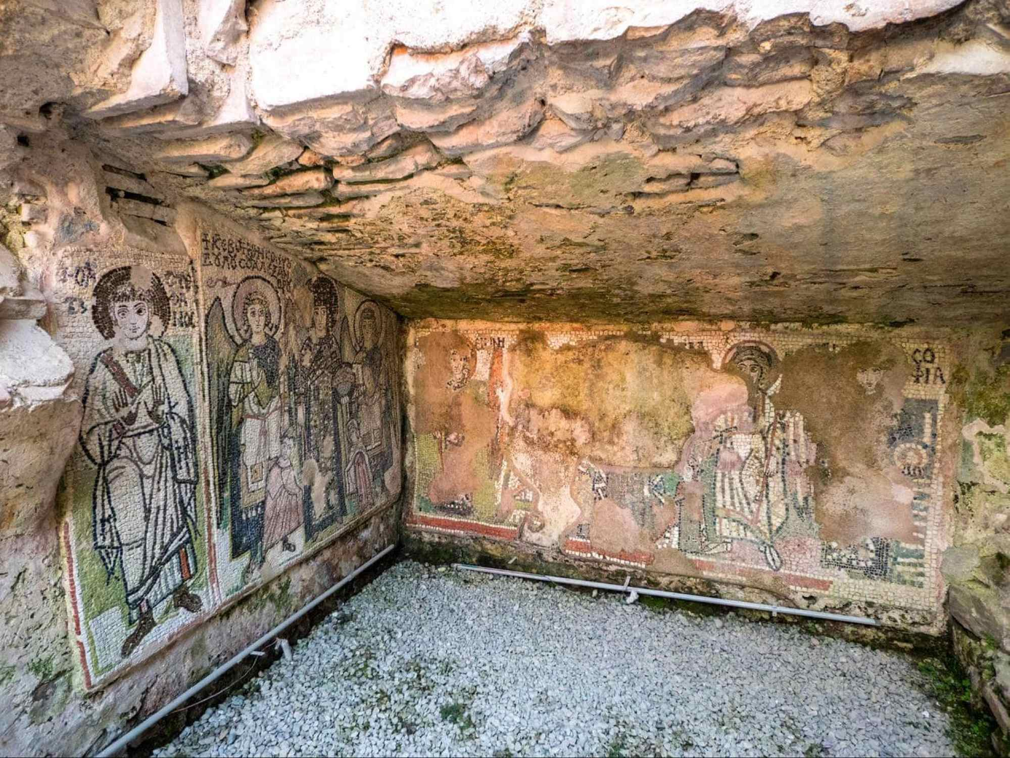 Frescoes inside the Byzantine church of the Roman Amphitheatre of Durres