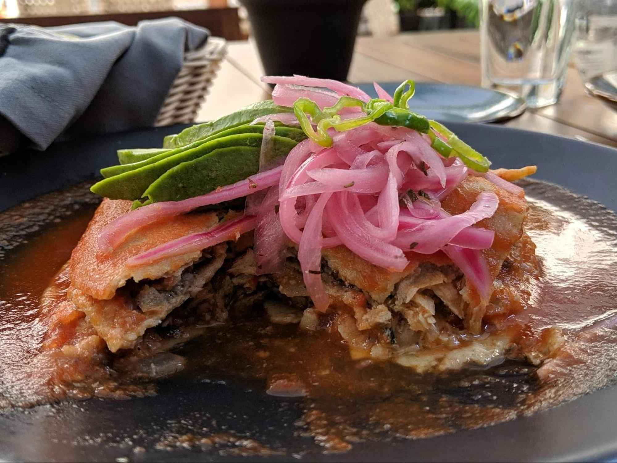 Inside a pan de cazon, authentic Mexican food from Yucatan