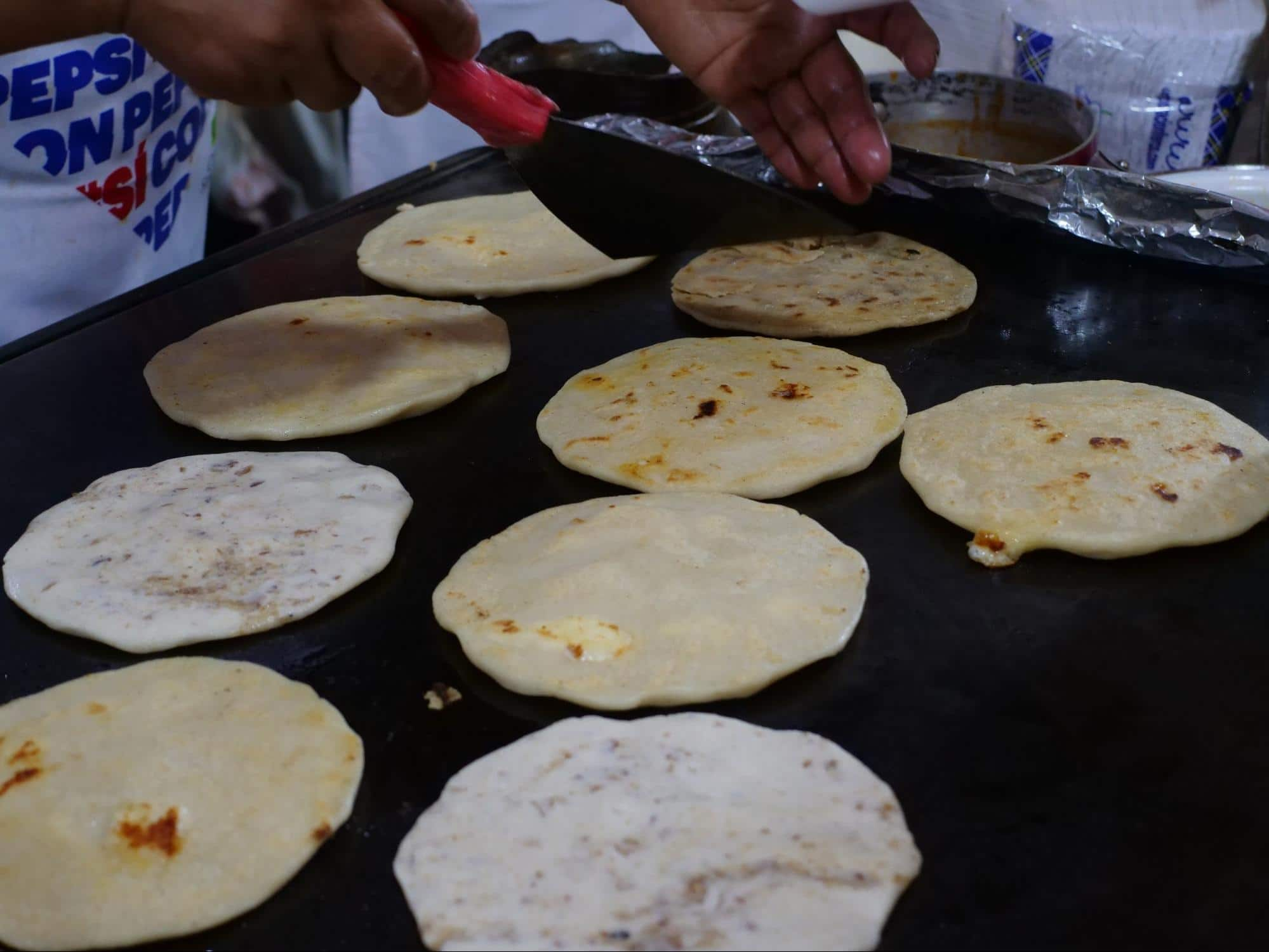 Pupusas, actually traditional Salvadorian food