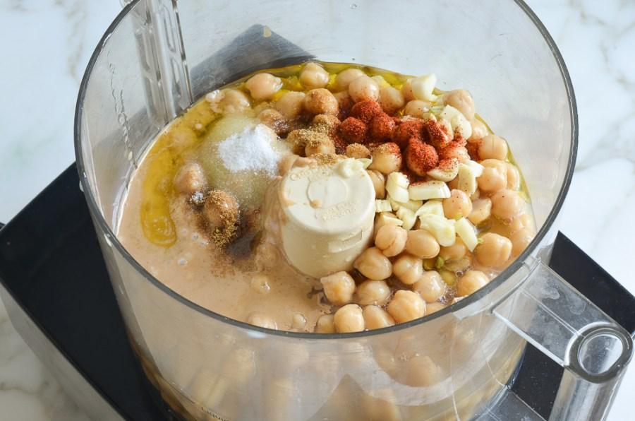 Hummus ingredients in food processor