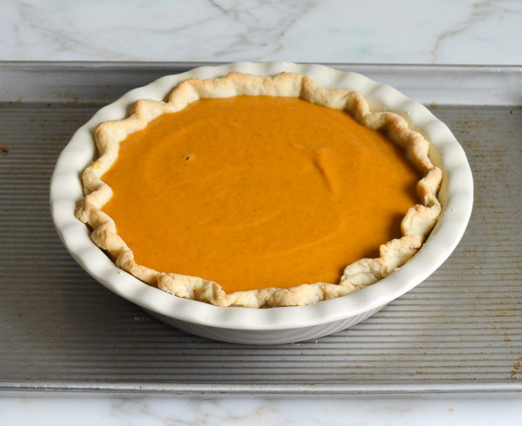 pumpkin pie ready to bake