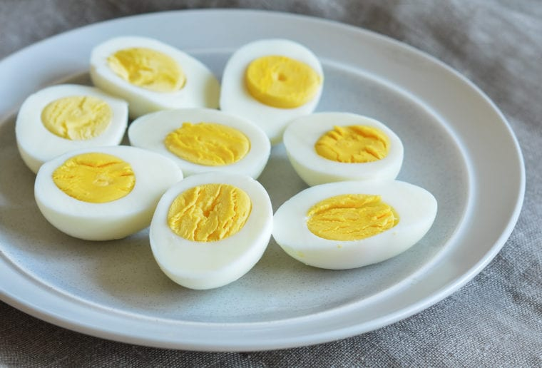 Image of hardboiled eggs for a breakfast snack while in the office.