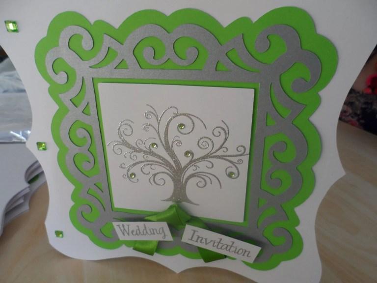 Green And Silver Tree Invitation