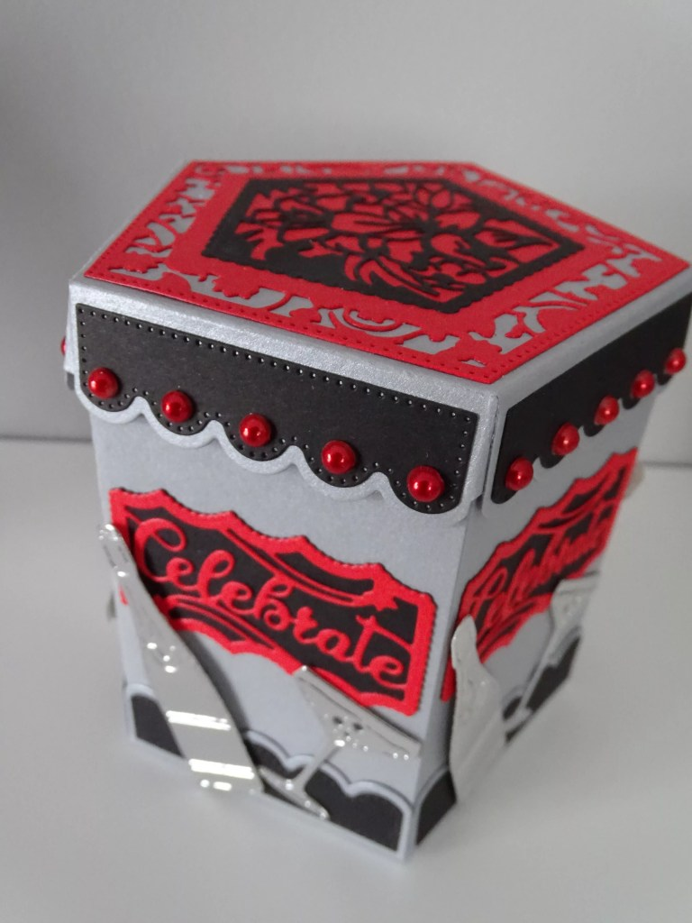 Red And Silver Large Pentagon Box
