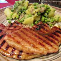 Grilled Gammon steak with potato, mushrooms and peas‏