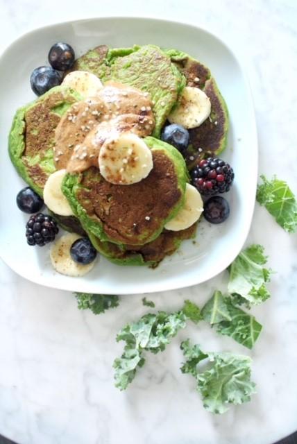 blueberry kale pancakes