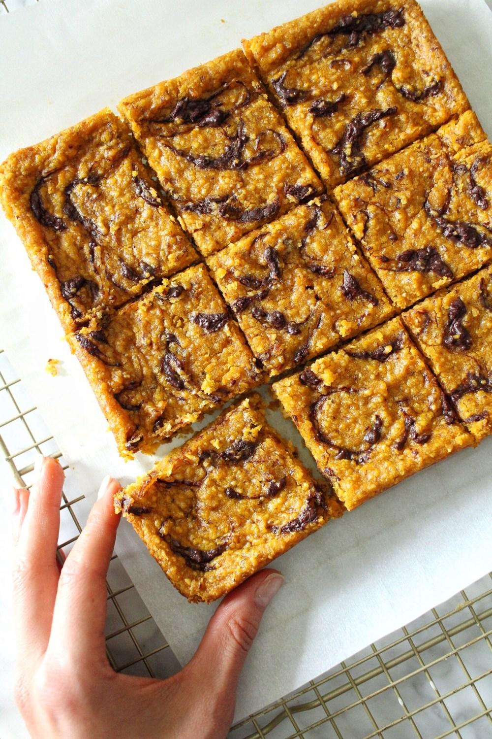 vegan pumpkin tahini blondies
