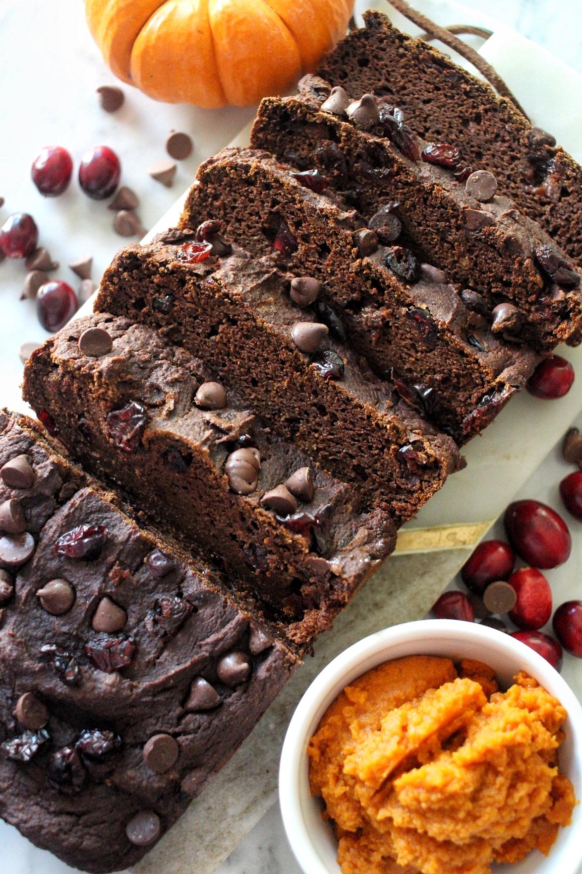 Healthy Chocolate Cranberry Pumpkin Bread
