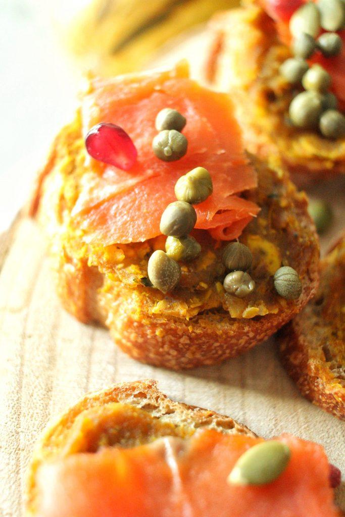 smoked salmon crostini with delicata squash butter