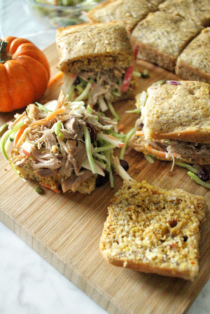 Mini Pumpkin Cornbread Carnitas Sandwiches with an Apple Veggie Slaw