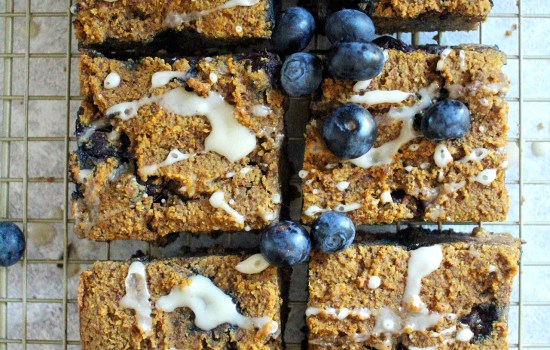 Pumpkin Blueberry Bars With Lemon Icing  {Paleo}