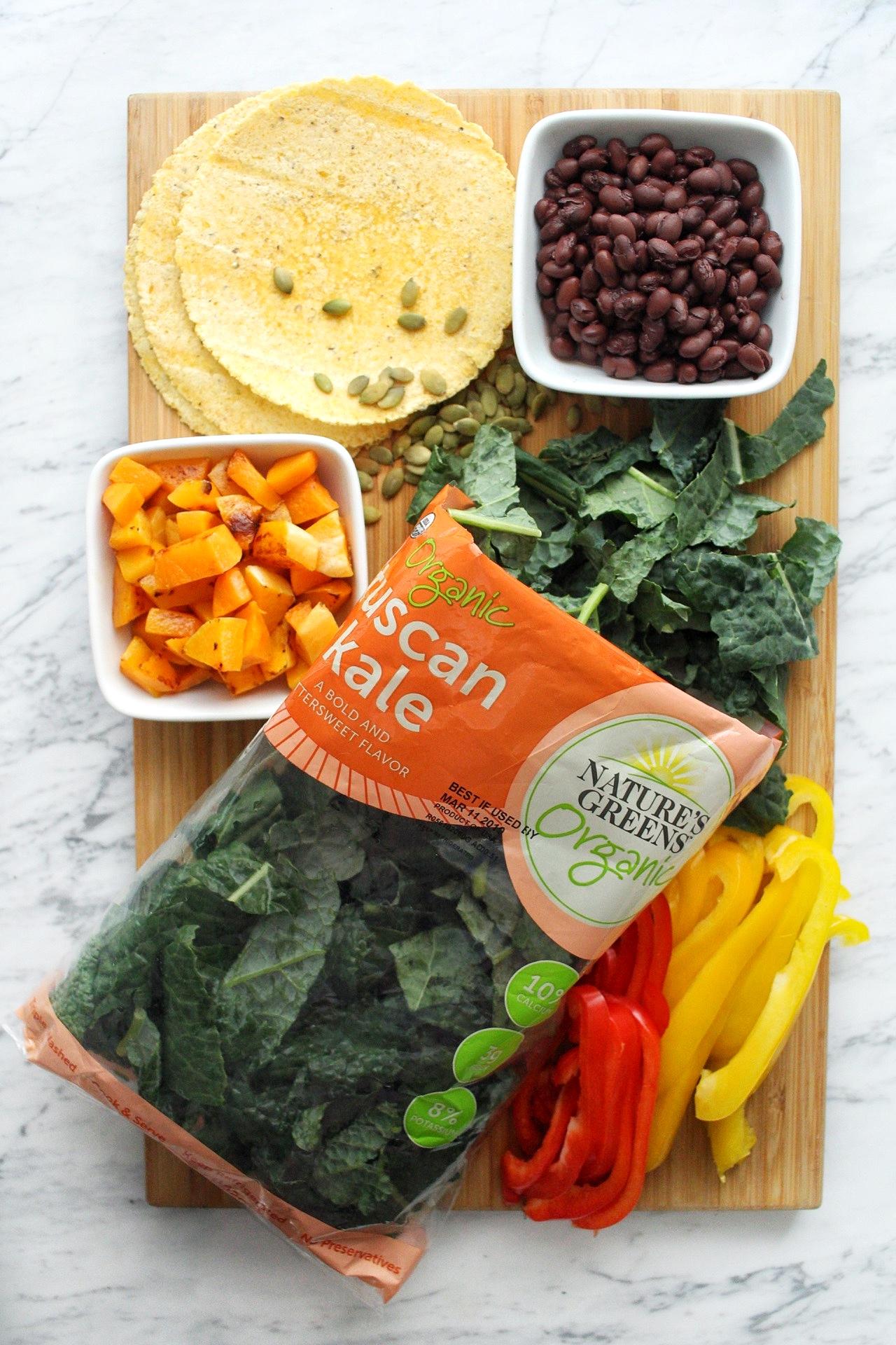 healthy kale black bean tacos