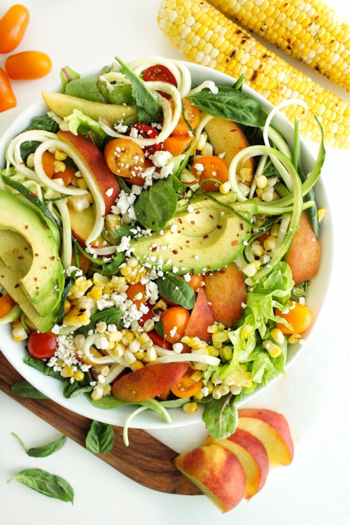 Summer Zoodle Avocado and Peach Salad