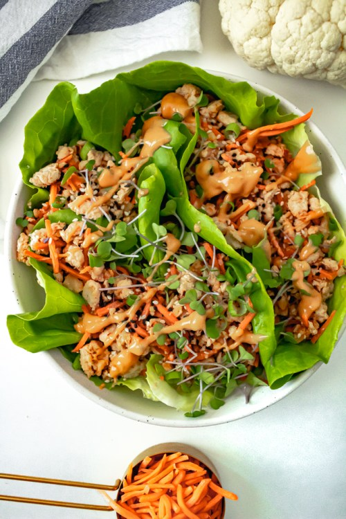 Chicken Lettuce Wraps with Cauliflower and Carrots