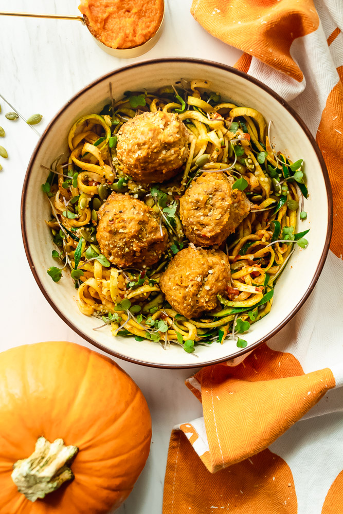 Pumpkin Turkey Meatballs with Zucchini Noodles