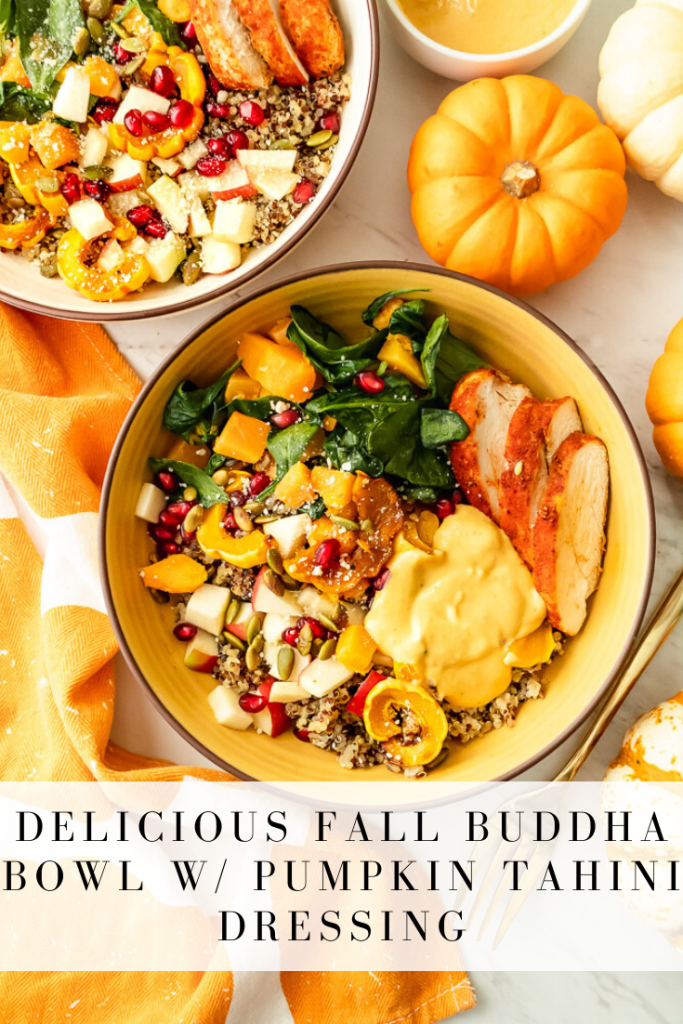 This fall buddha bowl with pumpkin tahini dressing is super flavorful and packed with nutrition for the season! It's easy to customize to preferences and makes for a great power lunch or dinner! #buddhabowl #fallharvestbowl #pumpkin #squash #protein #greens #quinoa #onceuponapumpkin