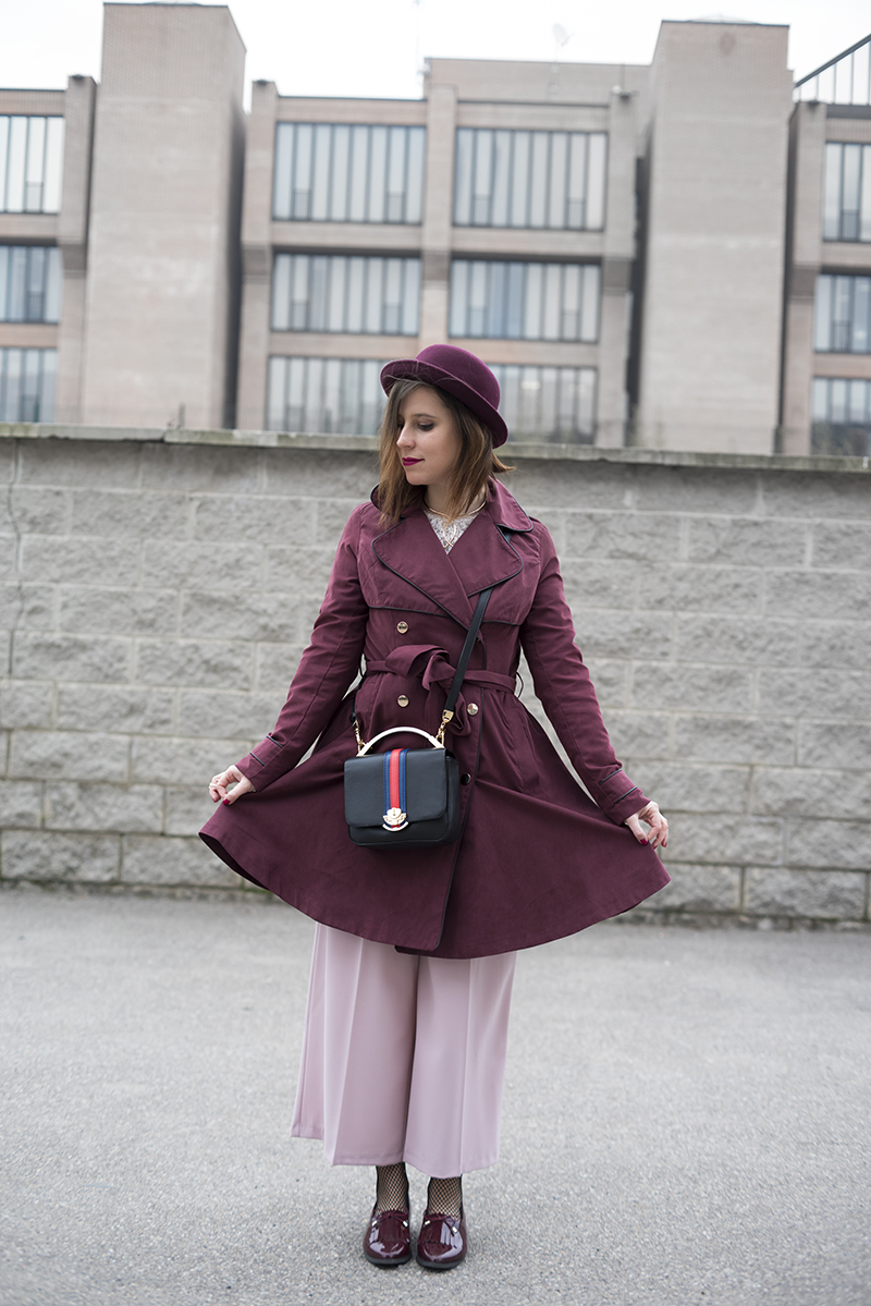 A study in pink | Cynthia Rowley Shopbop Primark HM Outfit Trench Wide Pants Oxfords