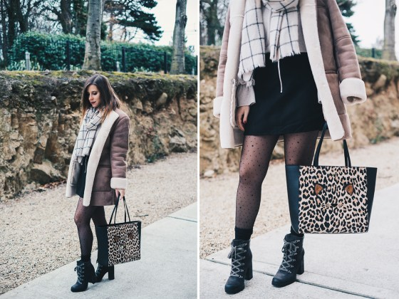 Shearling Coat, Mini suede skirt, Lace up boots, Animalier Shopper