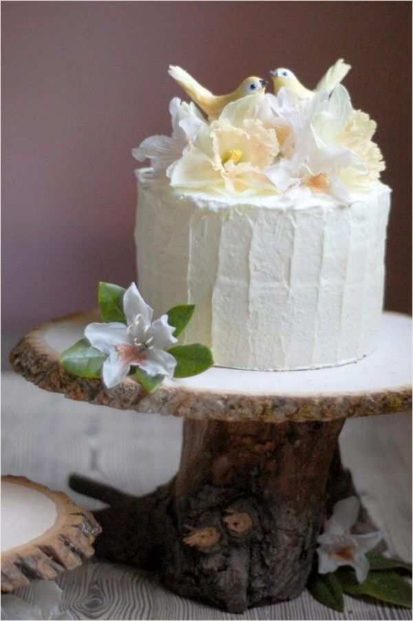 DIY Rustic Wedding Cake Stand   Once Wed DIY Rustic Wedding Cake Stand