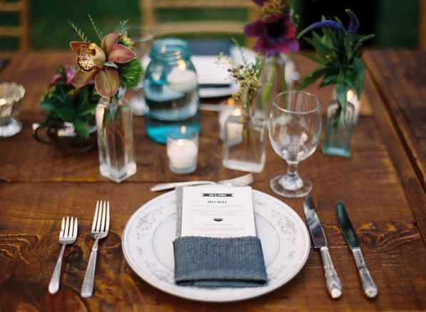 Place Setting Menu Card Reception Decor Once Wed