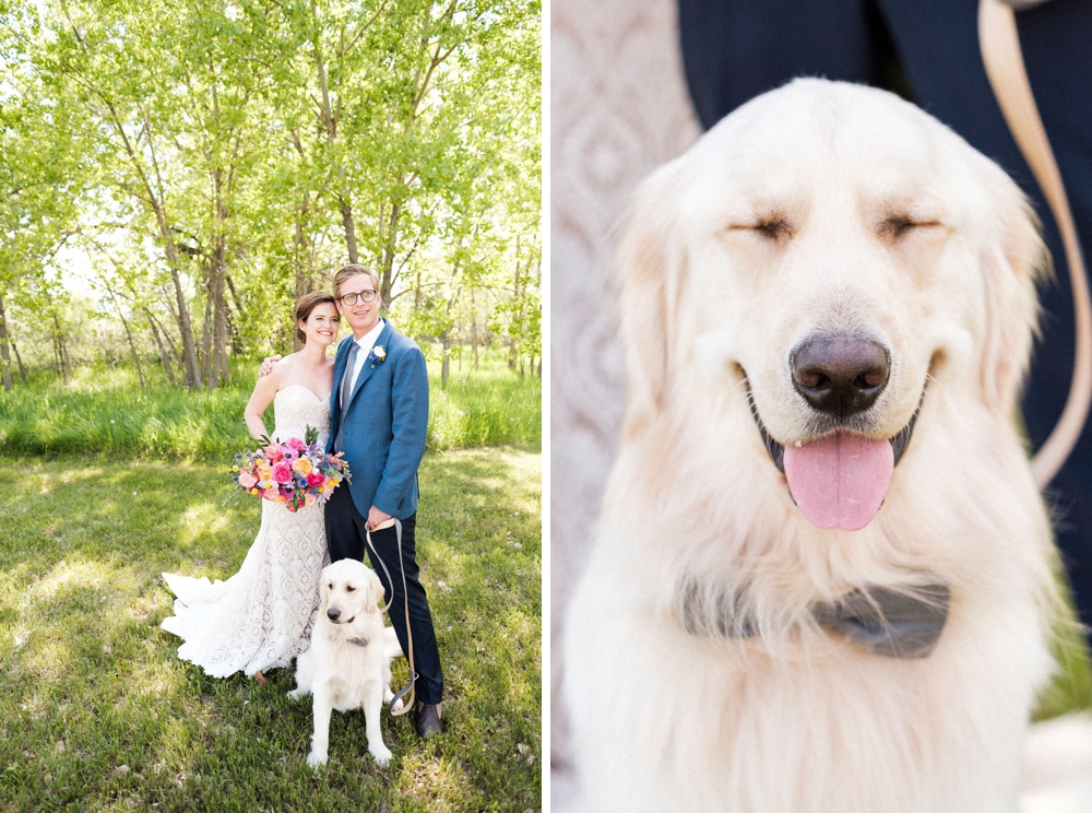 Portrait of a bride and groom and their dog (serving as their best man) before the start of their wedding in Boulder, Colorado.