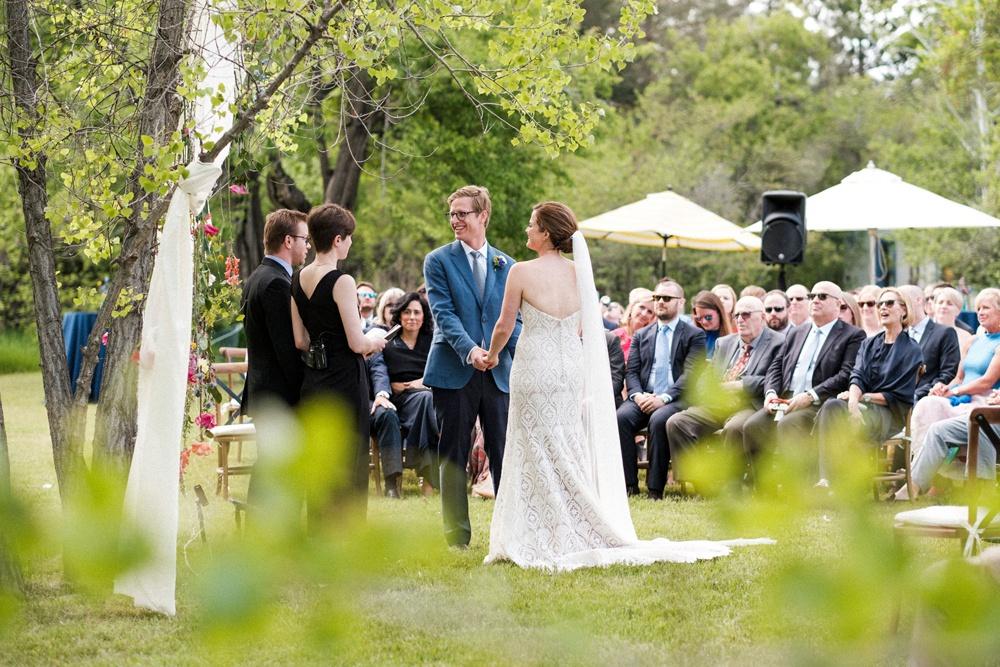 Outdoor wedding ceremony at a secluded venue in Boulder, Colorado - Kelly Urban Farm.