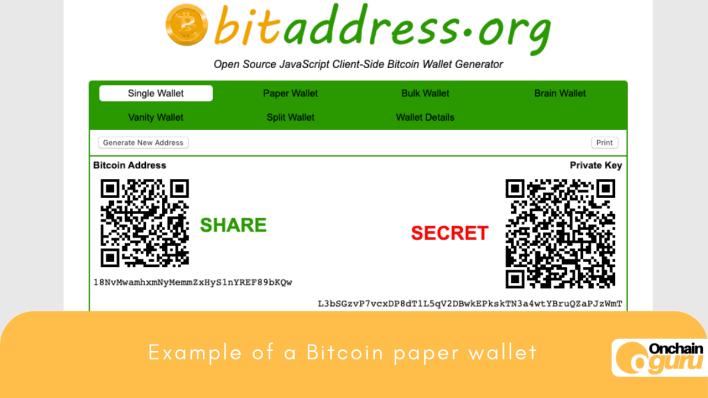 Example Bitcoin Paper Wallet- OnchainGuru.com
