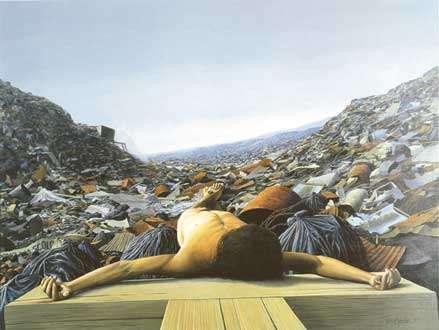 Tomás Sánchez, 1992: Hombre crucificado en el basurero  / Acrílico sobre lienzo  / 110 x 150 cm