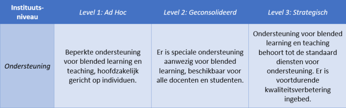 blended learning, implementatie instituutsniveau.
