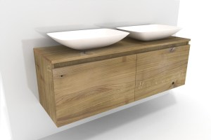 Waschbeckenunterschrank Holz Lysta   Massivholz Eiche