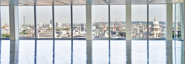 breathtaking views from a leasehold office in the Shard, polished floors and floor to ceiling windows offering panoramic views