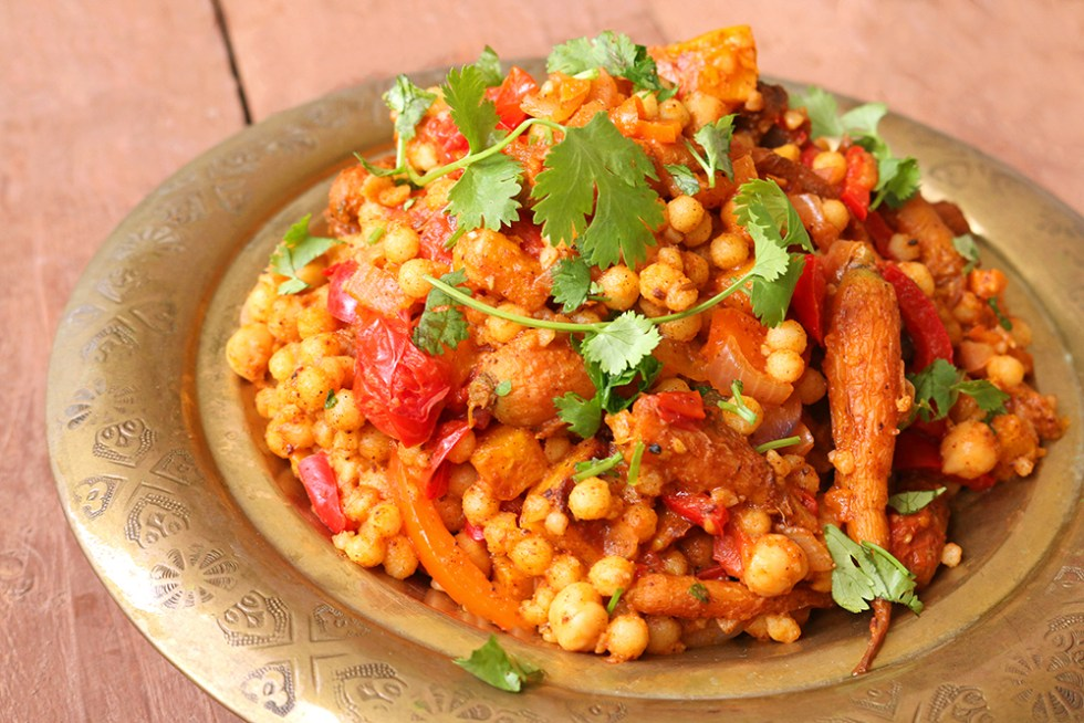 Moroccan Style Moghrabieh Couscous One Arab Vegan