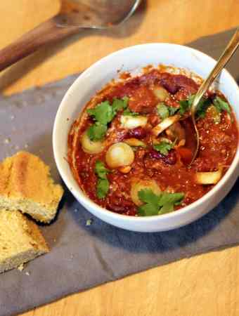 BEEF AND BEAN CHILI WITH CORNBREAD AND HONEY BUTTER
