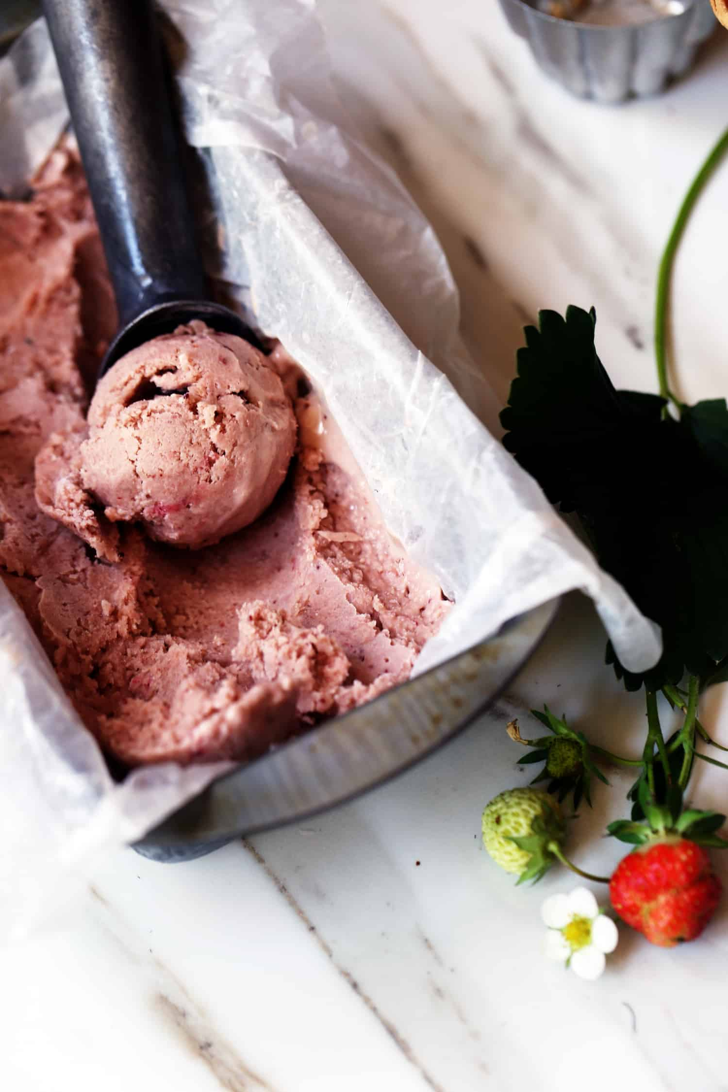 Balsamic Strawberry Almond Milk Ice Cream