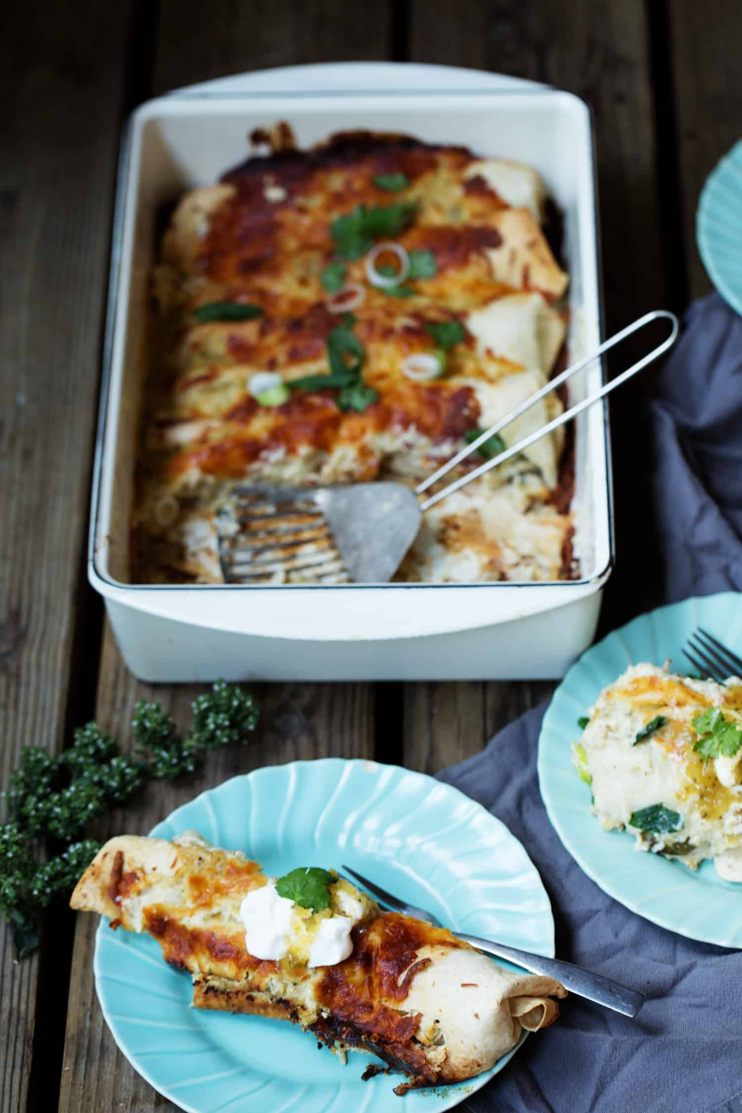 Creamy Chile Verde Chicken Enchiladas - easy meal for a crowd #MakeGameTimeSaucy #CollectiveBias
