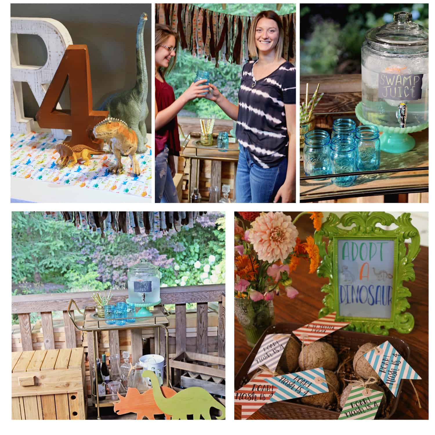 Montage of Dinosaur Birthday Party ideas decoartino, gifts, games, drinks and bar cart