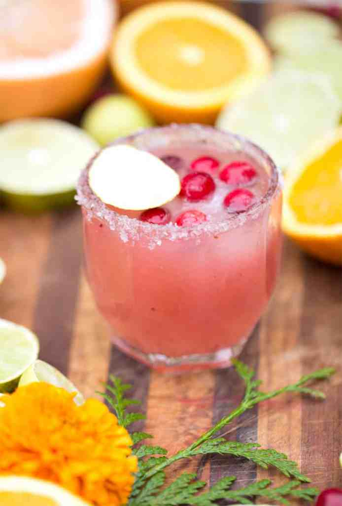 Cranberry Citrus Paloma Punch with background of citrus slices