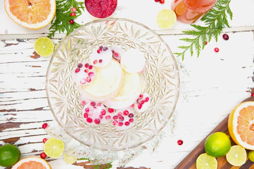 Cranberry Citrus Paloma Punch in vintage cut crystal punch bowl