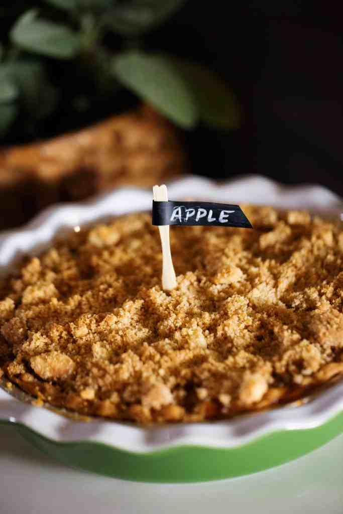 #TurkeyDayTips #CollectiveBias #ad FAll Wine and Pie Party apple pie on pie bar with chalk label