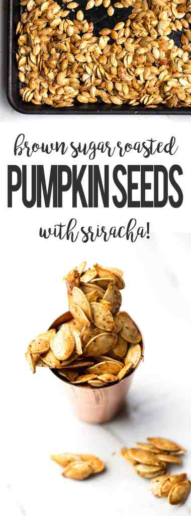 brown sugar roasted pumpkin seeds with sriracha from ONEarmedMAMA.com
