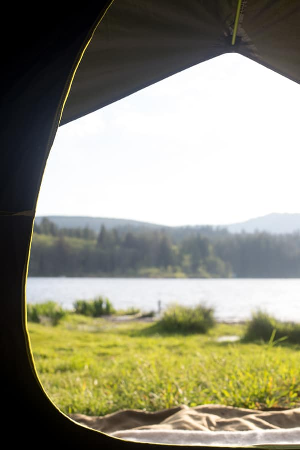 view from inside a tent