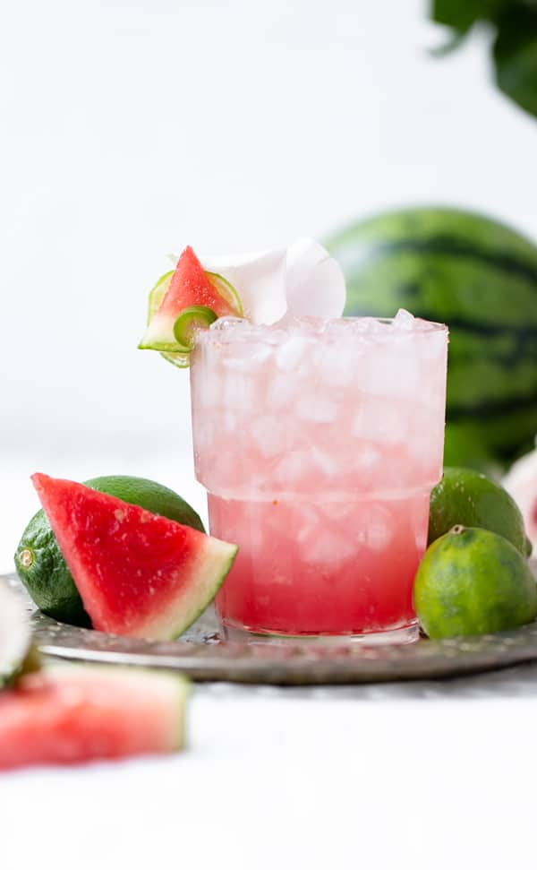 Celebrate National Rose Day with a sweet and spicy margarita made with homemade watermelon juice and jalapeno infused tequila! #SipTheSummer #UncorkExtraordinary #SantaMargheritaWines #ad