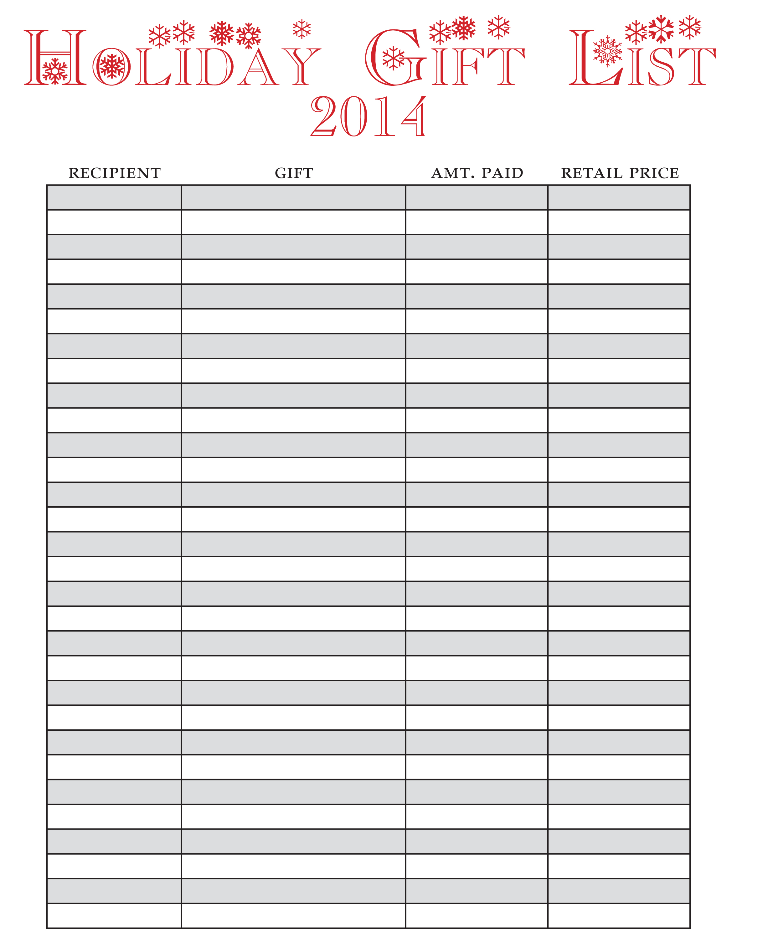 Holiday T List Free Printable One Beautiful Home