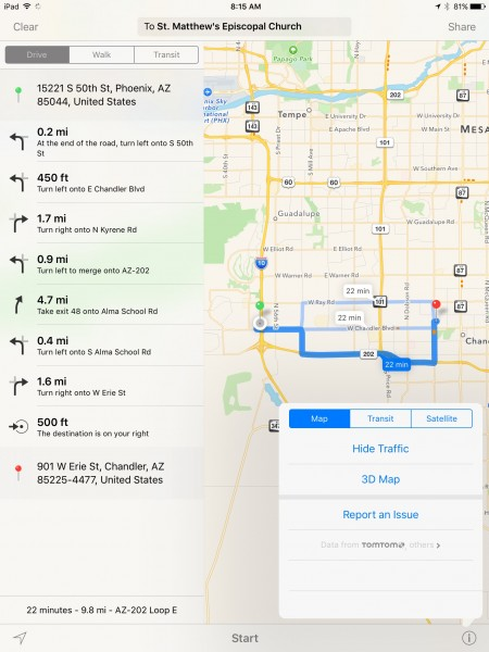 Googlemaps route to St Matthew's Episcopal Church in Glendale