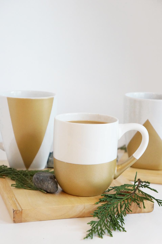 DIY Gold Geometric Mugs