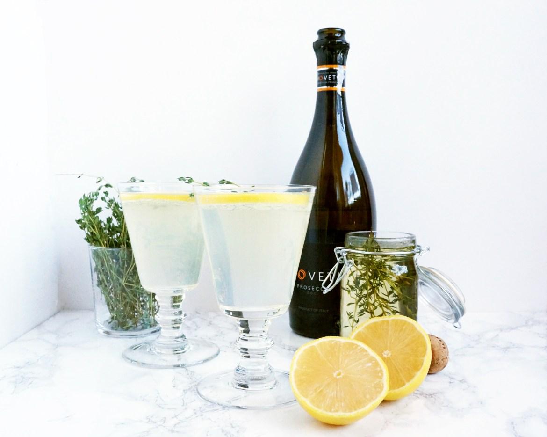 Lemon Elderflower and Thyme Prosecco Cocktail